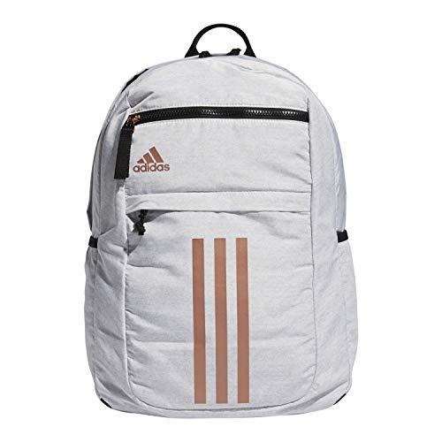 adidas Mochila listrada unissex League 3, Mochila listrada League Three, Jersey branco/ouro rosa/preto, One Size