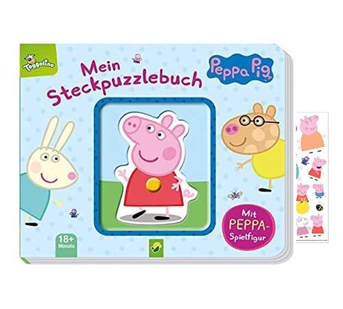 Buchspielbox Peppa Pig - Libro de rompecabezas con figura de Peppa Pig para niños a partir de 18 meses + pegatina Peppa Pig