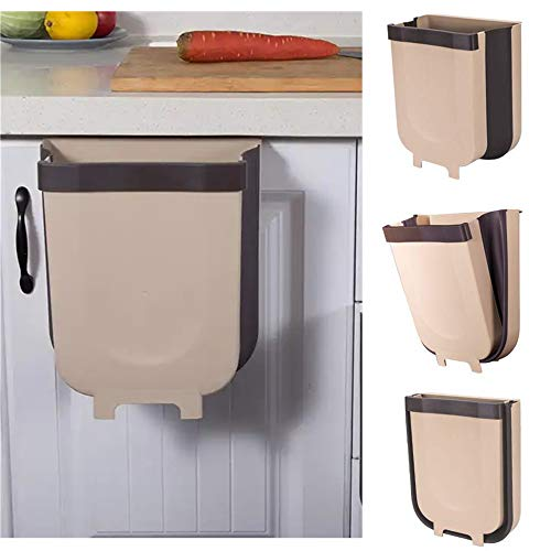 JEBBLAS Hanging Trash Can Folded for Kitchen Cabinet Door, Collapsible Trash Bin Small Compact Garbage Can Attached to Cabinet Door Kitchen Drawer Bedroom Dorm Room Car
