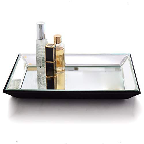 Organizador de tocador rectangular de 21 x 30 cm, bandeja de espejo decorativa, bandeja para joyas, bandeja plateada para decoración del hogar