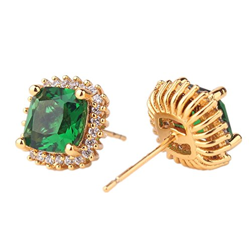 ODETOJOY 1 Pair Simulated Emerald Earrings 18K Yellow Gold Plated Square Cubic Zirconia Simulated Diamond Halo Stud Earrings for Women with Gift Box with Gift Box (Green)