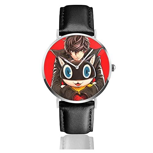 Relojes de Pulsera Persona Cat Reloj de Cuarzo con Correa de Cuero de PU para Hombre Mujer colección Regalo Unisex Informal de Negocios