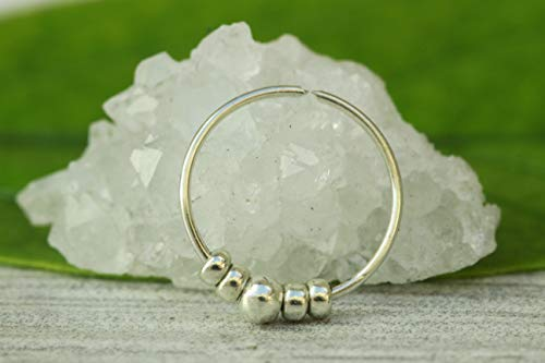 Silver Tiny Beaded Nose Ring -Ultra Thin 24G 925 Sterling Silver Nose ring 7mm hoop - tiny nostril hoop opal - 7mm nose hoop