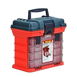 MEIJIA Mallette de pêche portable pour outils, organisateurs d'outils avec 4 caisses détachables 10,98 x 7,24 x 10,24…