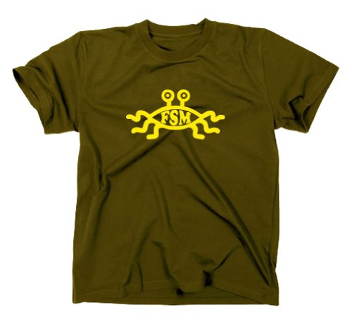Das Fliegende Spaghettimonster FSM T-Shirt Flying Nerd, XXL, Oliv
