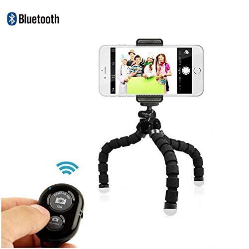 Statief, spons driepoot, compatibel met iPhone, Android, camera en GoPro, klein en licht ministatief met flexibele poten, 1 verpakking, Black Color + Remote