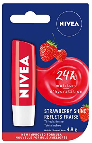 NIVEA Tinted Shimmer Strawberry Shine Lip Balm (1 x 4.8g Stick), Fruity Strawberry Flavour, Shimmery Red Tinted Lip Balm, 24 Hour Hydration