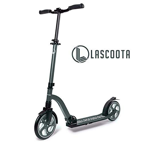 Lascoota Scooters for Kids 8 Years and up  QuickRelease Folding System  Dual Suspension System  Scooter Shoulder Strap 79quot Big Wheels Great Scooters for Adults and Teens Grey Premium Adult