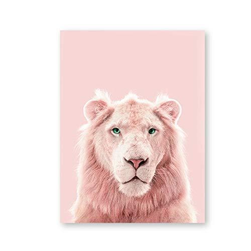 NIESHUIJING Druck auf Leinwand Pink Panther Drucke Lion Tiger Art Poster Kindergarten Wilde Tiere Erröten Pink Pastell Wandkunst Leinwand Gemälde 15,7