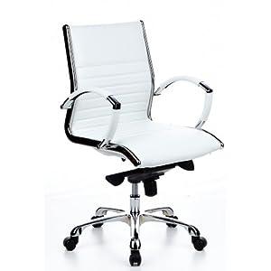hjh OFFICE 660512 Silla ejecutiva Parma 10 Cuero Blanco Silla de Oficina Alta Gama