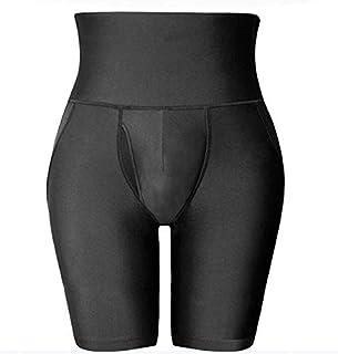 سروال رجالي ذو طبقة مزدوجة حزام مضاد للتموج بخصر عالٍ لنحت الجسم سروال قصير لتشكيل منطقة البطن