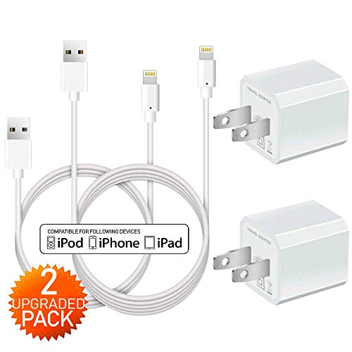 Phone Charger - Boost+ Fast Charging 2Pack 3Ft Cable Data Sync Transfer Cord with 2Pack 1-Port Plug Wall Charger Compatible with Apple iPhone, iPad, iPod Mobile Digital Device, TV (White)