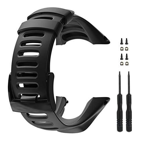 Vindar Suunto Uhrenarmband, Ersatz aus weicher Gummiuhr, komplett schwarzes Uhrenarmband mit Schrauben für Suunto Ambit 1/2 / 2S / 2R / 3 Sport / 3 Run / 3 Peak