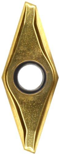 "Sandvik Coromant CoroTurn 107 Carbide Turning Insert, VCEX, 35 Degree Diamond, R/L-K Chipbreaker, GC1020 Grade, TiN Coating, VCEX 2203R-F, 1/4"" iC, 0.004"" Corner Radius (Pack of 10)"