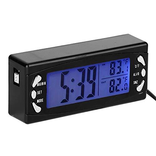 Reloj termómetro para coche, termómetro digital para coche de 12 V Reloj para vehículo Medidor de temperatura LCD con función de alarma T23