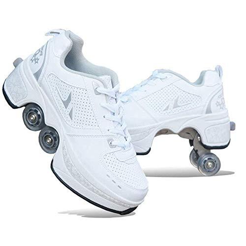 XLLLL Rollers Mädchen Schuhe Mit Rollen Rollschuhe Unisexe Skates 2-in-1 Multifunktions 4-Rad Verstellbare Rollschuhe,verstecktes Rad Für Laufsportschuhe Zum Spielen,WhiteA-TPU-36