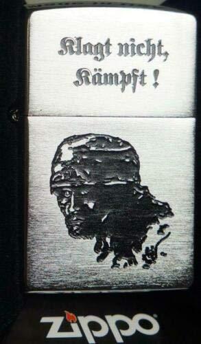 Zippo KLAGT Nicht KÄMPFT WKII Fallschirmjäger - Satin Finish - Diamantgravur Sturmfeuerzeug, Chrom, Silber, 5.8 x 3.8 x 1.8 cm