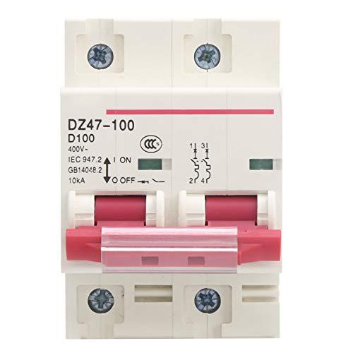 Disyuntor, disyuntor en miniatura Disyuntor Interruptor de aire doméstico Instalación en riel tipo D DZ47-100 2P D80~100A para distribución de energía y protección contra fugas en el hogar