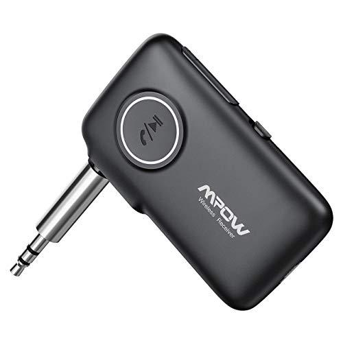 Mpow Bluetooth 5.0-Empfänger, CSR-Chip, kabelloses Audio-Musik-Abspielen für Auto- und Heimstereosystem, Bluetooth-Adapter mit integriertem Mikrofon für Freisprechanrufe und Sprachnavigation