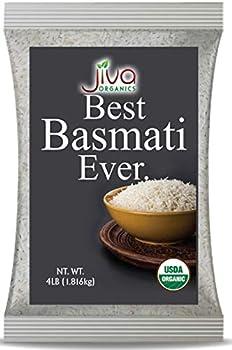 Organic Basmati Rice 4 LB Bag - Pure Extra Long Premium Quality from India - By Jiva Organics