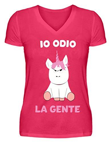 Shirtee IO ODIO LA Gente Unicorno - Camicia Donna con Scollo a V -L-Rosa Caldo