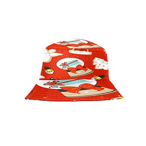 Sombrero de cubo sombrero de playa sombrero de pesca estético para hombres mujeres adolescentes (dibujos animados abstractos lindos juguetes retro - rojo feliz Navidad)