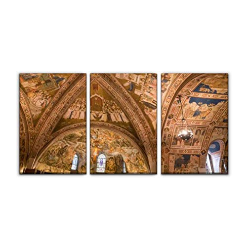 """Modern Canvas Painting ceiling of basilica of st francis of assisi italy europe cathedral Wall Art Artwork Decor Printed Oil Painting Landscape Home Office Bedroom Framed Decor (16""""x24""""x3pcs)"""