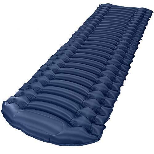 Bessport Isomatte Aufblasbar, Kleines Packmaß Selbstaufblasbare 6cm Dick Isomatte Camping Handpresse Aufblasbare,Ultraleicht & Wasserdichte Kompakte für Outdoor, Trekking, Wandern (Blau)