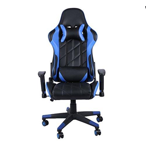 None Brand Oficina en casa Escritorio para computadora Silla para Juegos Silla reclinable para Carreras con reposacabezas Azul