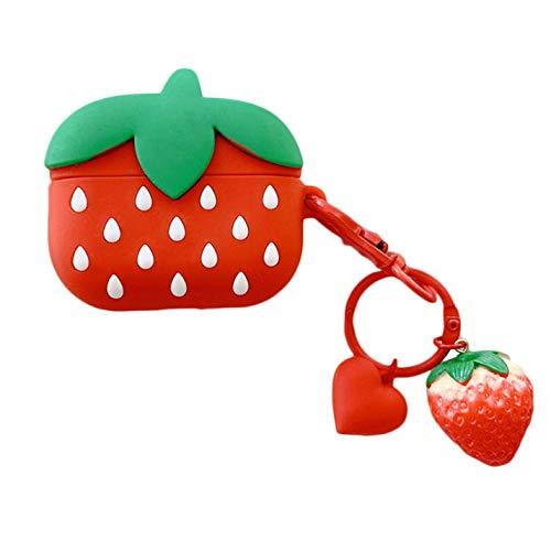 djryj zuinige 3D-tekening aardbeien siliconen beschermhoes Leuke fruitvorm Apple Bluetooth draadloze koptelefoon oplader box beschermhoes (zonder airpod), RD