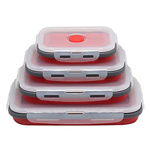 ZOOENIE Silikon Faltbare Frischhaltedosen 4 Stück, zusammenklappbar Frischhaltedosen Lunchbox/Bento, für Lebensmittel Aufbewahren, Einfrieren und Erwärmen, mikrowellen, spülmaschinen (Rot)