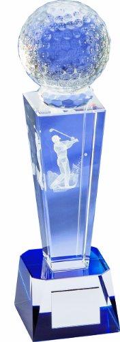 LONGRIDGE Golf Trophäe Kristall 3D Laserbeschriftete Trofeo Cristal, Unisex, (Weiß), 235 mm