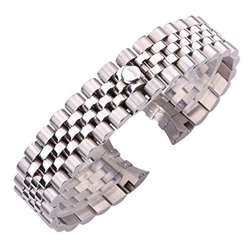 WNFYES Las Mujeres de Moda de Acero Inoxidable de Venda de Reloj de la Correa de 20 mm Hombres Metal Correas de Reloj Curved End de Plata sólido Enlace Accesorios Pulsera Relojes Correas