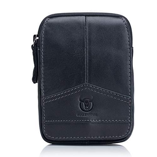 ZeanIImy Herren Taschen Leder Belted-Handy-Beutel Erste Schicht Lederhose Gürtel Multi-Funktions-Schleuder-Tasche. Herrentaschen (Color : Black, Size : M)