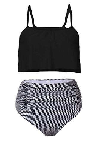Aleumdr Womens Ruffle Crop Top High-Waisted Padded Bikini Set Swimsuit Thin Shoulder Straps Sexy Swimwear L Size Black