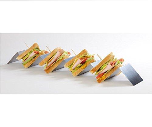 Snackwelle / Snackpresenter aus Edelstahl mit 4 Mulden/Fächer, gut geeignet für Sandwiches, stapelbar & spülmaschinengeeignet / 56 x 8 x 5,5 cm | SUN