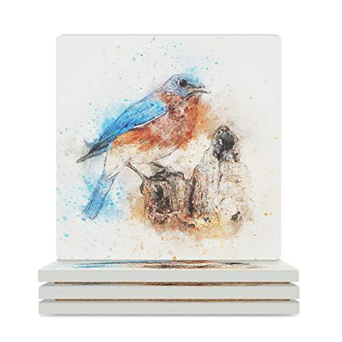 Bohohobo Posavasos de cerámica con diseño de pájaros, material respetuoso con el medio ambiente, 4 piezas/6 piezas, el mejor regalo para graduación de color blanco 6 piezas
