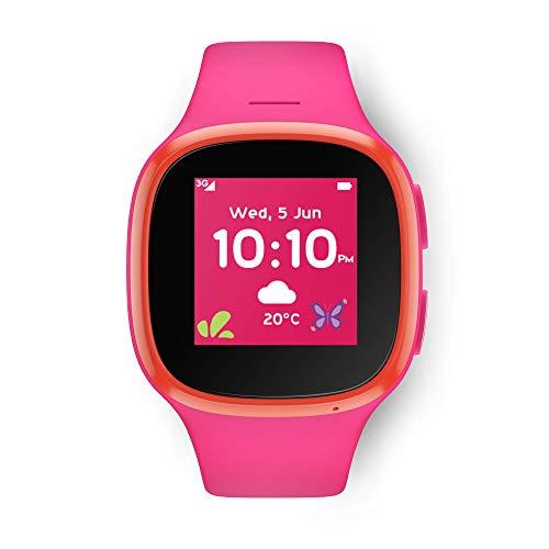 Vodafone V-Kids Armbanduhr mit TCLMOVE, GPS-Kinder-Smartwatch mit GPS-Tracker, SOS-Benachrichtigungstaste und Sprachmessaging-Funktion, V-SIM Lieferumfang enthalten, Pink