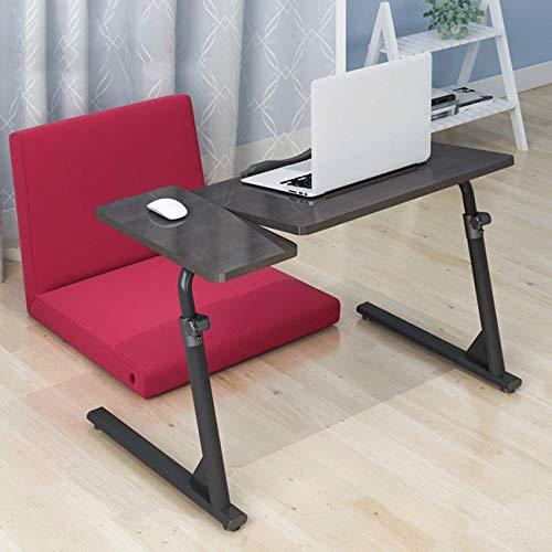 LGJ1201 Adjustable Height Overbed Table Laptop Desk For Sofa/Bed,Mobile Computer Desk Workstation Side Table Bedside Table With Lockable Wheels(Color:Blacck Walnut)