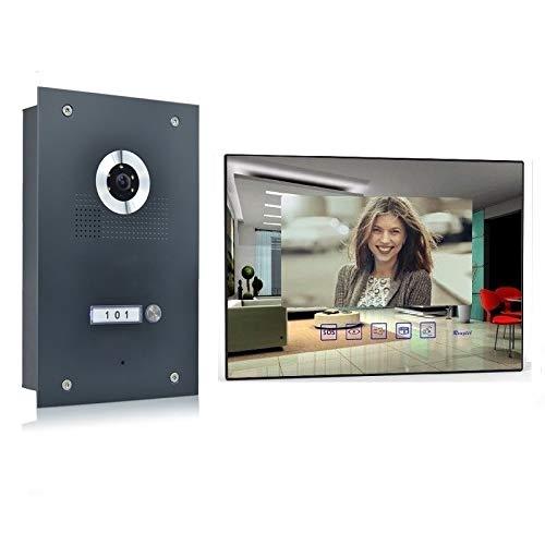 Video Türsprechanlage Gegensprechanlage mit 7'' Monitor Kamera 170° Anthrazit, Farbe: Ohne, Größe: 1x7'' Monitor