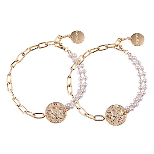 Mostop, 2 braccialetti da donna, con motivo a testa creativa regolabile, bracciale asimmetrico con perle per donne e ragazze, regalo per la festa della mamma