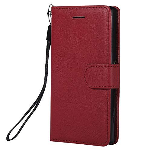 Hülle für Sony [Xperia Z5 Compact] Hülle Handyhülle [Standfunktion] [Kartenfach] Tasche Flip Case Cover Etui Schutzhülle lederhülle klapphülle für Xperia Z5 Compact - DEKT051769 Rot