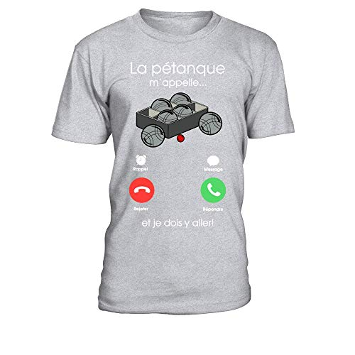 TEEZILY T-Shirt Homme La pétanque m'appelle, Je Dois y Aller - Gris chiné - L
