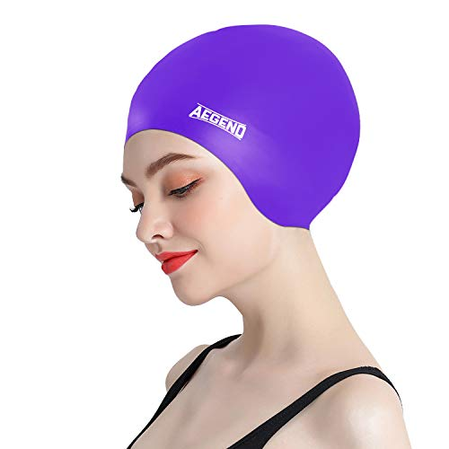 aegend Swim Caps, Specially Designed for Long Hair or Thick Hair, Purple