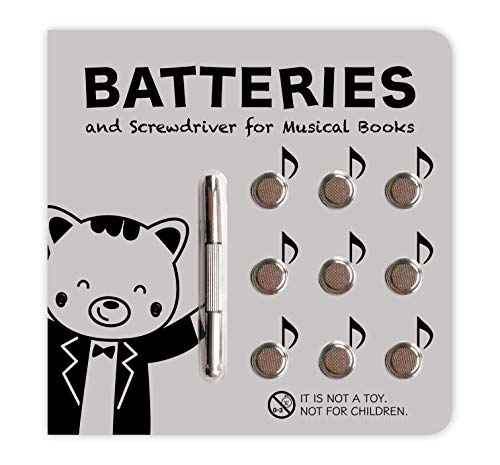 Cali's Books Battery Kit for Interactive Musical Books. Battery Kit with 9 Batteries and Small Screwdriver