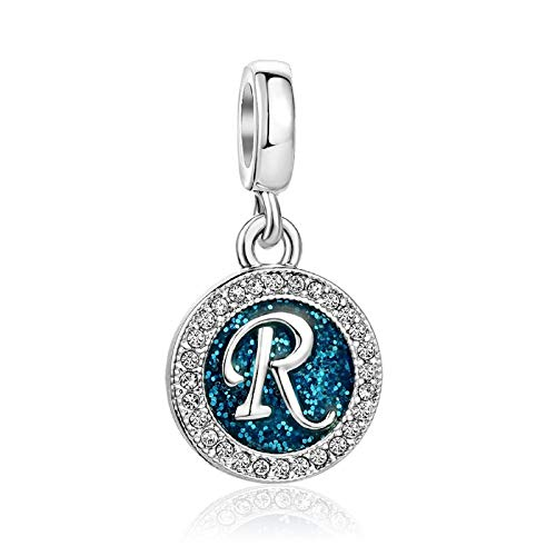 KunBead Letter R Silver Dad Girlfriend Mother Daughter Niece Nana Mom Birthstone Sale Baby Childrens Beads Charms for Bracelets Necklaces