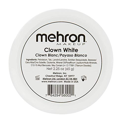 Mehron Makeup Clown White Professional Makeup (2.25 Ounce)