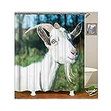 Knbob Polyester Duschvorhang Schaf Badewanne Vorhang 150x200CM mit 12 Duschvorhangringen