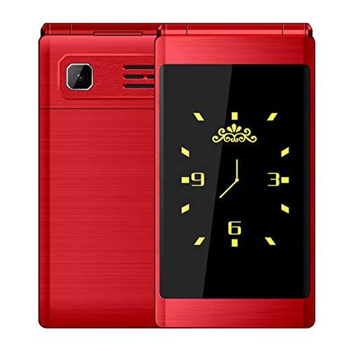 Flip Slim Clamshell Teléfono móvil para Personas Mayores de Edad Tecla de marcación rápida Estuche de Metal de Doble sim Antorcha Luz Extra
