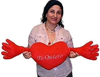 ML Regalo para el Dia de la Madre, cojín corazón con Brazos para abrasarte con Frase romántica te Quiero 80cm